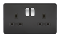 KnightsBridge 13A 2G DP Screwless Matt Black 230V UK 3 Pin Switched Electric Wall Socket