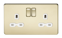 KnightsBridge 13A 2G DP Screwless Polished Brass 230V UK 3 Pin Switched Electric Wall Socket (Option: White Insert)
