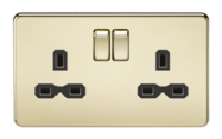 KnightsBridge 13A 2G DP Screwless Polished Brass 230V UK 3 Pin Switched Electric Wall Socket