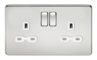 KnightsBridge 13A 2G DP Screwless Polished Chrome 230V UK 3 Pin Switched Electric Wall Socket