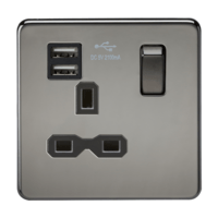 KnightsBridge 13A 1G Screwless Black Nickel 1G Switched Socket with Dual 5V USB Charger Ports