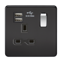 13A 1G Screwless Matt Black 1G Switched Socket with Dual 5V USB Charger Ports by KnightsBridge