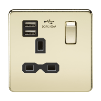 13A 1G Screwless Polished Brass 1G Switched Socket with Dual 5V USB Charger Ports by KnightsBridge