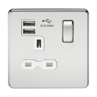 KnightsBridge 13A 1G Screwless Polished Chrome 1G Switched Socket with Dual 5V USB Charger Ports (Option: White Insert)