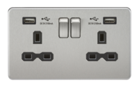 KnightsBridge 13A 2G Screwless Brushed Chrome 2G Switched Socket with Dual 5V USB Charger Ports