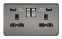KnightsBridge 13A 2G Screwless Black Nickel 2G Switched Socket with Dual 5V USB Charger Ports