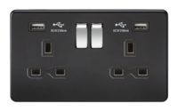 13A 2G Matt Black 2G Switched Socket with Dual 5V USB Charger Ports by KnightsBridge