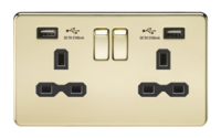 13A 2G Screwless Polished Brass 2G Switched Socket with Dual 5V USB Charger Ports by KnightsBridge