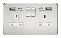 KnightsBridge 13A 2G Screwless Polished Chrome 2G Switched Socket with Dual 5V USB Charger Ports (Option: White Insert)