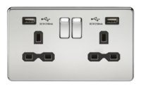KnightsBridge 13A 2G Screwless Polished Chrome 2G Switched Socket with Dual 5V USB Charger Ports