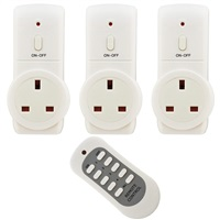 Status 20M Eco Remote Switch Control Mains Power Plug Socket - 3 Pack