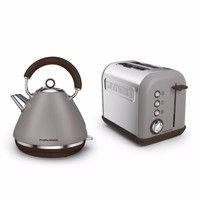 Morphy Richards Pebble Grey Accents Pyramid Kettle & 2 Slice Toaster Set