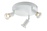 KnightsBridge Ceiling Light GU10 50 Watt 3 Spotlight Bar White LED Compatible