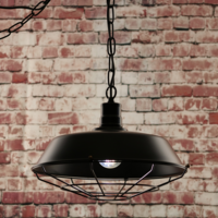 Greenhall Lighting Halton Wire Guarded Hanging Traditional Industrial Ceiling Light