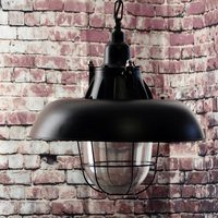 Greenhall Lighting Jasper Wire Guarded Traditional Rustic Iron Ceiling Light