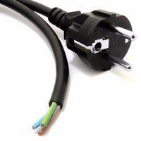 Zexum Black 2 meter 10A Schuko to Bare Ends Mains Lead