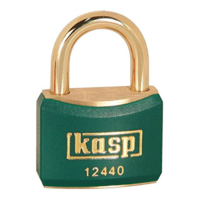 Kasp 40mm Brass Padlock with Green Plastic Coating