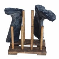 Hadley Reclaimed Wooden Boot & Wellie Floor Rack - Medium Oak