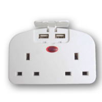 SMJ Twin UK to USA Plug Adaptor with Two USB Ports
