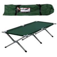 Milestone Green Folding Single Aluminum Camp Bed