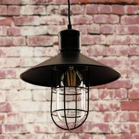 Greenhall Lighting Calgary Wire Guarded Traditional Rustic Iron Ceiling Light