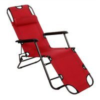 Zexum Folding Reclining Garden Lounger - RED