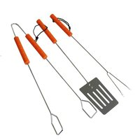 Kingfisher 3 Piece Wooden Handle BBQ Tool Set