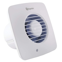 Xpelair  4 inch (100mm) Simply Silent Square Bathroom Fan with timer, Cool White (DX100BTS)