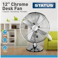 "Status 12"" Chrome Desk Fan"