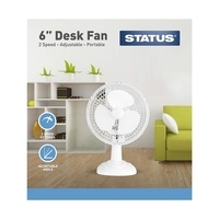 Status Portable 6-Inch Desk Fan, White