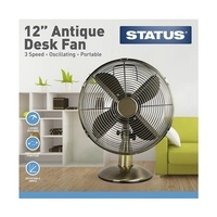 "Status 12"" Antique Brass Desk Fan"