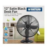 Status  12 Inch Oscillating Desk Fan - Satin Black