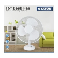 "Status 16"" White Desk Fan"