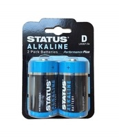 Status D Cell Alkaline Batteries - 2 Pack