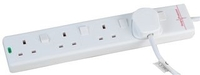Pro-Elec 2m 4 Way Individually Switched Surge Protected Extension Lead, White
