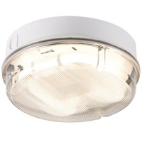 KnightsBridge IP65 16W HF Round Bulkhead with Prismatic Diffuser and White Base