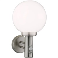 KnightsBridge IP44 230V E27 60W Stainless Steel Wall Globe comes with Sensor
