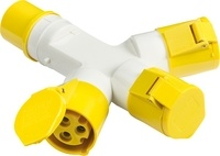 KnightsBridge 110V IP44 16A 2P+E 3 Way Splitter