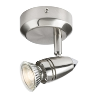 KnightsBridge GU10 50W Single Spotlight Circular Base - Brushed Chrome