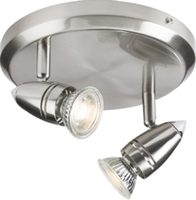KnightsBridge GU10 50W Twin Spotlight Circular Base - Brushed Chrome