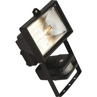 KnightsBridge 150W Enclosed Halogen Floodlight with PIR - Black