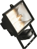 KnightsBridge IP44 500W Halogen Enclosed Floodlight with PIR Black