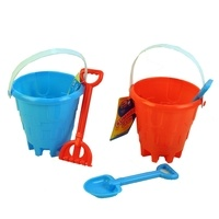 "PMS 5.5"" Bucket with Spade & Rake - Blue/Red"