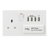 KnightsBridge 13A Switched Socket with Quad USB Charger 5V DC 5.1A