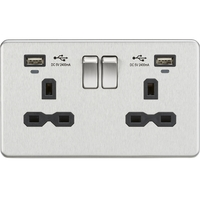 KnightsBridge 13A 2G Switched Sockets, Dual USB (2.4A) with LED Charge Indicators - Brushed Chrome