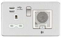 KnightsBridge Screwless 13A socket, USB chargers (2.4A) and Bluetooth Speaker - Brushed Chrome (Option: White Inserts)