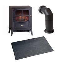 Dimplex Brayford Cast Iron Style Electric Stove with Pipe & Hearth Pad Bundle