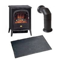 Dimplex Club 2kW Optiflame Electric Stove with Stove Pipe & Hearth Pad Bundle