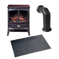 Dimplex Springborne 2kW Optiflame Electric Stove with Stove Pipe & Hearth Pad Bundle