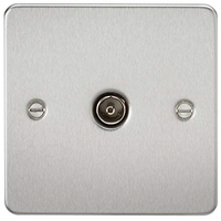 KnightsBridge 1G Non-Isolated TV Outlet Flat Plate- Brushed Chrome